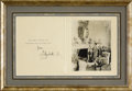Royal Memorabilia, Christmas Card Signed by Elizabeth II. Circa 1952.Elizabeth, Queen of England (r. 1952- ), printed from aphotograph...