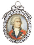 Royal Memorabilia:Other, Portrait Miniature of George III. Circa 1800. On ivory,George III, King of Great Britain and Ireland (r. 1750-1820), ...(Total: 2 Items)