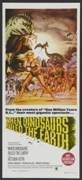 """Movie Posters:Fantasy, When Dinosaurs Ruled the Earth (Warner Brothers, 1970). AustralianDaybill (13"""" X 30""""). Fantasy...."""