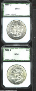 Additional Certified Coins: , 1880-O $1 Morgan Dollar MS63 PCI (MS61), an untoned ...