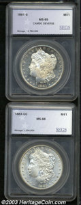 Additional Certified Coins: , 1881-S $1 Morgan Dollar MS65 Cameo Obverse SEGS (MS65), ... (2coins)