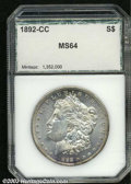 Additional Certified Coins: , 1892-CC $1 Morgan Dollar MS64 PCI (MS64). A lustrous ...