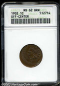 Errors: , 1902 1C Cent--Off-Center--MS62 Brown ANACS. Struck 20% ...