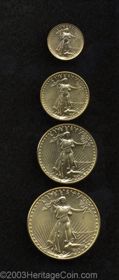 1986 G$5 Four-Piece Gold Eagle Set MS67-69 Uncertified. A beautiful set of this first year of issue of the revived and r...