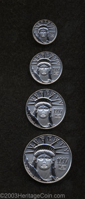 1997 P$10 Four-Piece Platinum Eagle Set MS67-69 Uncertified. A complete business strike set of this first year of issue...