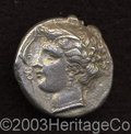 Ancients:Greek, Ancients: Sicily, Siculo-Punic. Ca. B.C. AR tetradrachm (25 mm,16.49 g). Wreathed head of Arethusa left; four dolphins swimmingaroun...