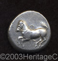 Ancients:Greek, Ancients: Thrace, Maroneia. Ca. 386/5-348/7 B.C. AR stater (23 mm,11.39 g). Horse with loose rein galloping left / Grape arborwithin...