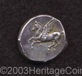 Ancients:Greek, Ancients: Akarnania, Leukas. Ca. 405-345 B.C. AR stater (20 mm,8.46 g). Pegasos flying left / Helmeted head of Athena left;monogram ...