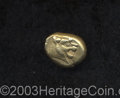 Ancients:Greek, Ancients: Lydian Kingdom. Before 561 B.C. EL sixth stater or trite(13 mm, 4.73 g). Head of roaring lion right, knob on forehead /Bip...