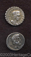 Ancients:Roman, Ancients: L. Titurius L. f. Sabinus. 89 B.C. AR denarius (18 mm,3.81 g). Head of Tatius right; palm below chin / Tarpeia buried tohe... (Total: 2 coins Item)