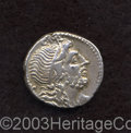 Ancients:Roman, Ancients: Cn. Lentulus. 76-75 B.C. AR denarius (18 mm, 3.88 g).Diademed bust of Genius right, sceptre over shoulder / Wreathedsceptr...