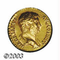 Ancients:Roman, Ancients: Hadrian. A.D. 117-138. AV aureus (28 mm). Rome, A.D.134-138. Bare-headed and draped bust right / Fides standing right,hold...