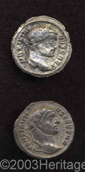 Ancients:Roman, Ancients: Lot of two tetrarchic argentei. Includes: Constantius I,as Caesar. Rome. RSC 314 b. Fine/Nice VF, obverse corrosion //Gale... (Total: 2 coins Item)
