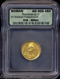 Ancients:Roman, Ancients: Theodosius II. A.D. 402-450. AV solidus (20 mm).Thessalonica, A.D. 424-425/30. Diademed, helmeted and cuirassedthree-quart...