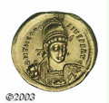 Ancients:Roman, Ancients: Theodosius II. A.D. 408-450. AV solidus (22 mm, 4.47 g).Constantinople, A.D. 408-420. Diademed, helmeted and cuirassedthre...
