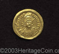 Ancients:Roman, Ancients: Theodosius II. A.D. 408-450. AV solidus (20 mm, 4.39 g).Constantinople, A.D. 430-440. Diademed, helmeted and cuirassedthre...