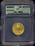 Ancients:Roman, Ancients: Leo I. A.D. 457-474. AV solidus (20 mm, 4.33 g).Constantinople, A.D. 462-473. Diademed, helmeted and cuirassedthree-quarte...