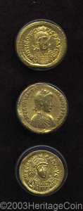 Ancients:Roman, Ancients: Zeno I. A.D. 474-491. AV solidus (19 mm, 4.44 g).Constantinople. Diademed, helmeted and cuirassed three-quarter bustfacing... (Total: 3 coins Item)