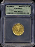 Ancients:Byzantine, Ancients: Anastasius I. A.D. 491-518. AV solidus (21 mm).Constantinople, A.D. 491-498. Diademed, helmeted and cuirassedthree-quarter...