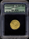 Ancients:Byzantine, Ancients: Justinian I. A.D. 527-565. AV solidus (21 mm).Constantinople, A.D. 538-545. Diademed, helmeted and cuirassed bustfacing, h...