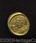 Ancients:Byzantine, Ancients: Justinian I. A.D. 527-565. AV solidus (19 mm, 4.47 g).Constantinople, A.D. 538-545. Diademed, helmeted and cuirassed bustf...