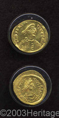 Ancients:Byzantine, Ancients: Justinian I. A.D. 527-565. AV tremissis (15 mm, 1.51 g).Constantinople. Diademed, draped and cuirassed bust right /Victory... (Total: 2 coins Item)
