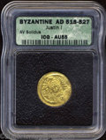 Ancients:Byzantine, Ancients: Justin II. A.D. 565-578. AV solidus (21 mm).Constantinople. Diademed, helmeted and cuirassed bust facing,holding Victory o...