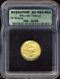 Ancients:Byzantine, Ancients: Maurice Tiberius. A.D. 582-602. AV solidus (21 mm).Constantinople, A.D. 583-601. Diademed, cuirassed bust facing,wearing p...
