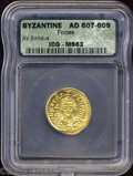 Ancients:Byzantine, Ancients: Phocas. A.D. 602-610. AV solidus (21 mm). Constantinople,A.D. 607-610. Crowned and draped bust facing, holding globuscruci...