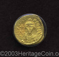 Ancients:Byzantine, Ancients: Phocas. A.D. 602-610. AV solidus (20 mm, 4.19 g).Constantinople, A.D. 607-610. Crowned and draped bust facing,holding glob...