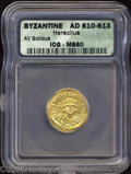 Ancients:Byzantine, Ancients: Heraclius. A.D. 610-641. AV solidus (20 mm).Constantinople, A.D. 610-613. Crowned facing bust, holding cross /Cross potent...