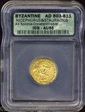 Ancients:Byzantine, Ancients: Nicephorus I, with Stauracius. A.D. 802-811. AV solidus(20 mm). Constantinople, A.D. 803-811. Crowned facing bust ofNiceph...