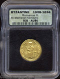 Ancients:Byzantine, Ancients: Romanus III. A.D. 1028-1034. AV histamenon nomisma (23mm). Christ enthroned facing, raising right hand in benediction,hold...