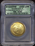 Ancients:Byzantine, Ancients: Constantine IX. A.D. 1042-1055. AV histamenon nomisma (27mm). Constantinople. Christ seated facing on lyre-backed throne,r...