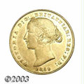 Australia: , Australia: Victoria gold Sovereign 1859, KM4, Lustrous AXF with asmall field mark below the chin of the Queen. A premium date of theS...