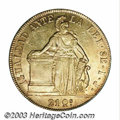 Chile: , Chile: Republic gold 8 Escudos 1841, KM104.1, reeded edge. LustrousXF-AU, few tiny reverse flan flaws....