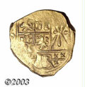 Colombia: , Colombia: Gold 2 Escudos Cob, style of Philip IV, Bogota mint. Obverse: Clear shield details, but the mint and assayer letters are onl...