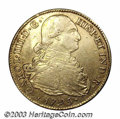 Colombia: , Colombia: Charles IIII gold 8 Escudos 1795P-JF, KM-62.2.Bust/Crowned Arms. VF-XF, minor rim abrasion on reverse. ...