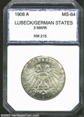 German States:Lubeck, German States: Lubeck. 3 Mark 1908A, KM-215. MS64 PCI. Fullybrilliant with some light toning spots. ...