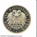 German States:Lubeck, German States: Lubeck. Free City 3 Mark 1909A, KM215, Proof 64Cameo ANACS. ...