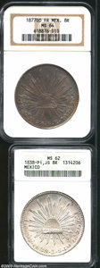 Mexico: , Mexico: Cap & Ray 8 Reales, KM377, 1838-Pi JS, MS62 ANACS and1877-Go FR, MS64 NGC.... (Total: 2 Coins Item)