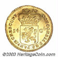 Netherlands/Dutch States:West Freisland, Netherlands/Dutch States: West Friesland. Gold 14 Gulden 1750,Soldier on horseback/Arms Fr-298, KM-130. Superb AU, very appealingwith flashy proofli...