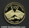 Papua New Guinea: , Papua New Guinea: Gold 100 Kina 1984FM, KM27, 100th Anniversary of the British and German Protectorates, Proof only issue with a mintage of 27...