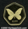 Papua New Guinea: , Papua New Guinea: Gold 100 Kina 1992, KM29, Queen Alexandra butterfly, Proof, very scarce....