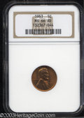 Lincoln Cents: , 1953 MS66 Red NGC. ...