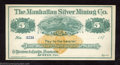 Miscellaneous:Checks, 187_ $5 The Manhattan Silver Mining Co., Austin, NV, Crisp ...