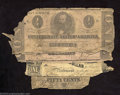 Confederate Notes:Group Lots, Four Low Grade Confederate Notes, including a T44 $1, two T55 $...(4 notes)