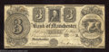 Obsoletes By State:Michigan, 1837 $3 Bank of Manchester, MI, Fine-Very Fine. An odd ...