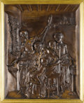 Bronze:European, A Bronze Figural Plaque. Antonin Mercie (1795-1875). French, 19th Century. Bronze with brown patina. Signed and dated: A...