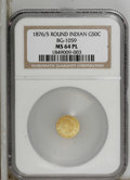 California Fractional Gold: , 1876/5 50C Indian Round 50 Cents, BG-1059, R.4, MS64 Prooflike NGC.A brightly mirrored near-Gem whose clean fields and lum...